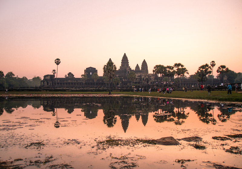 pink sky and the view on Angkor Wat in Cambodia