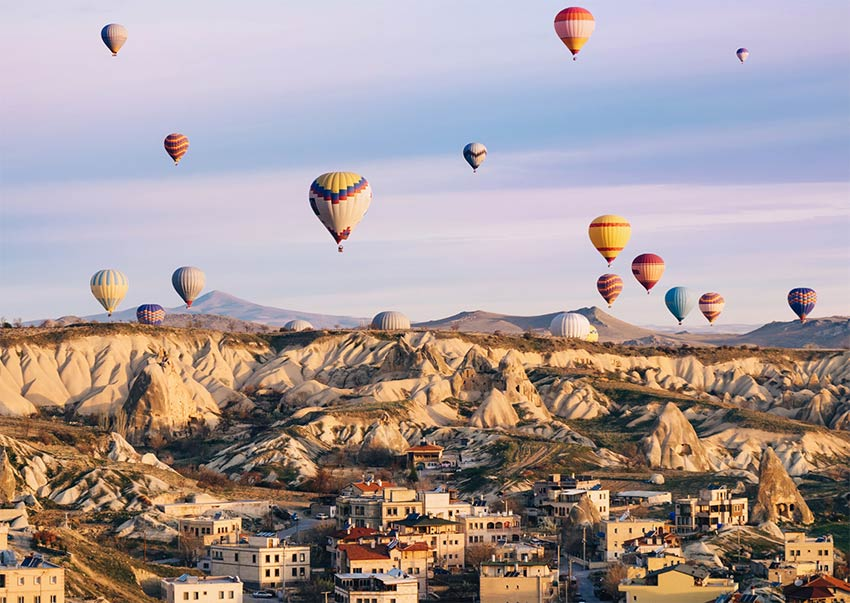 a view on hot air balloons in Cappadocia in Turkey which need to be on your bucket list places.