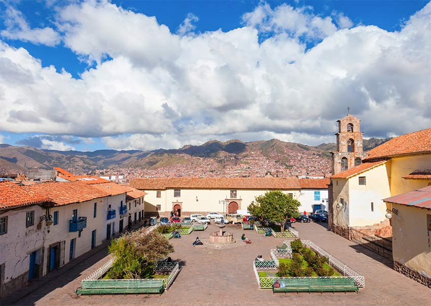 a view on the San Blas market square in Cusco