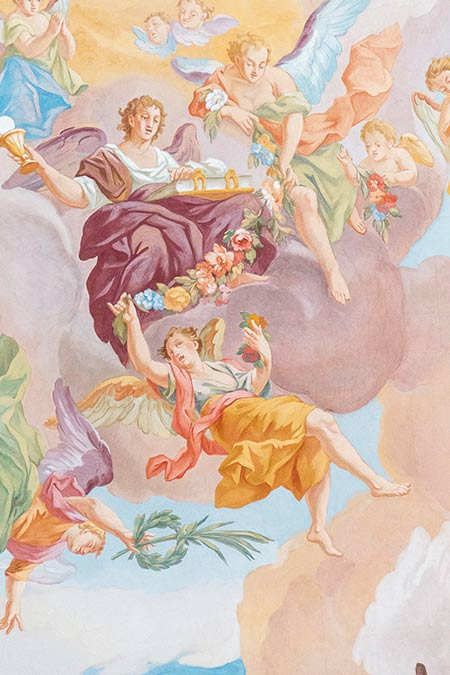 a ceiling painting in a church in Munich