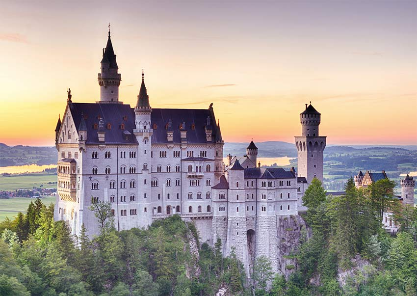 Neuschwanstein Castle during sunset and one of the best places to see during your 2 days in munich