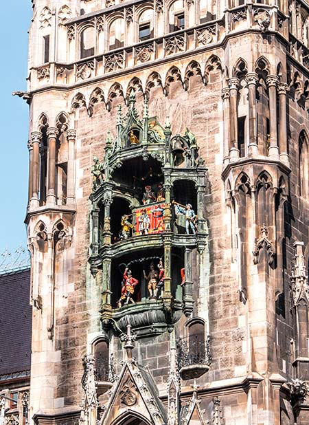 the clock tower of the new townhall at Marienplatz in Munich, best places to see during your 2 days itinerary