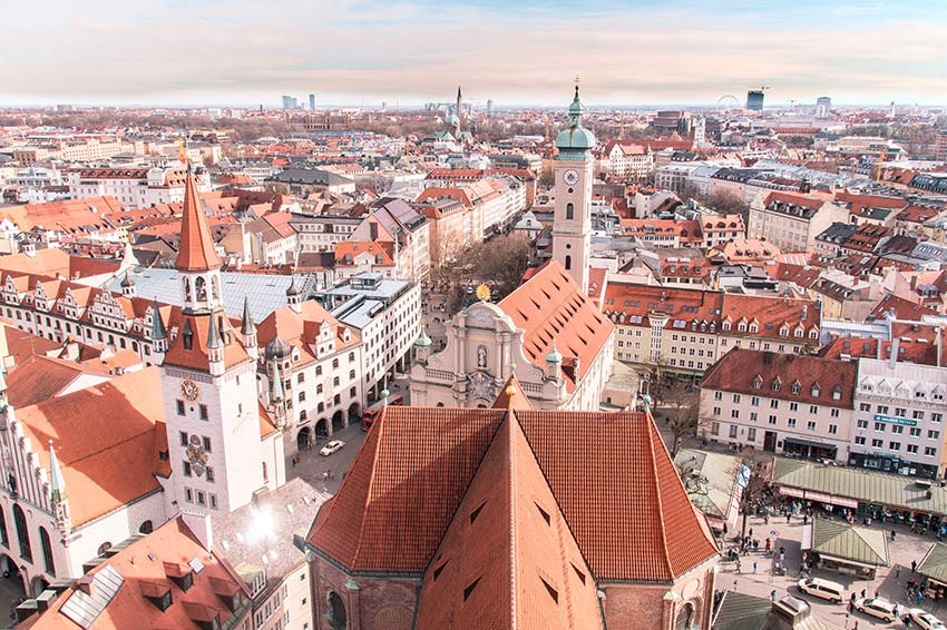 aerial view on munich, red rooftops which has to be in your 2 days munich itinerary