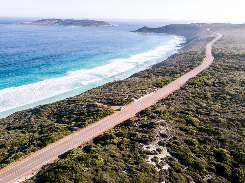 driving on the coastal road in Esperance, Western Australia