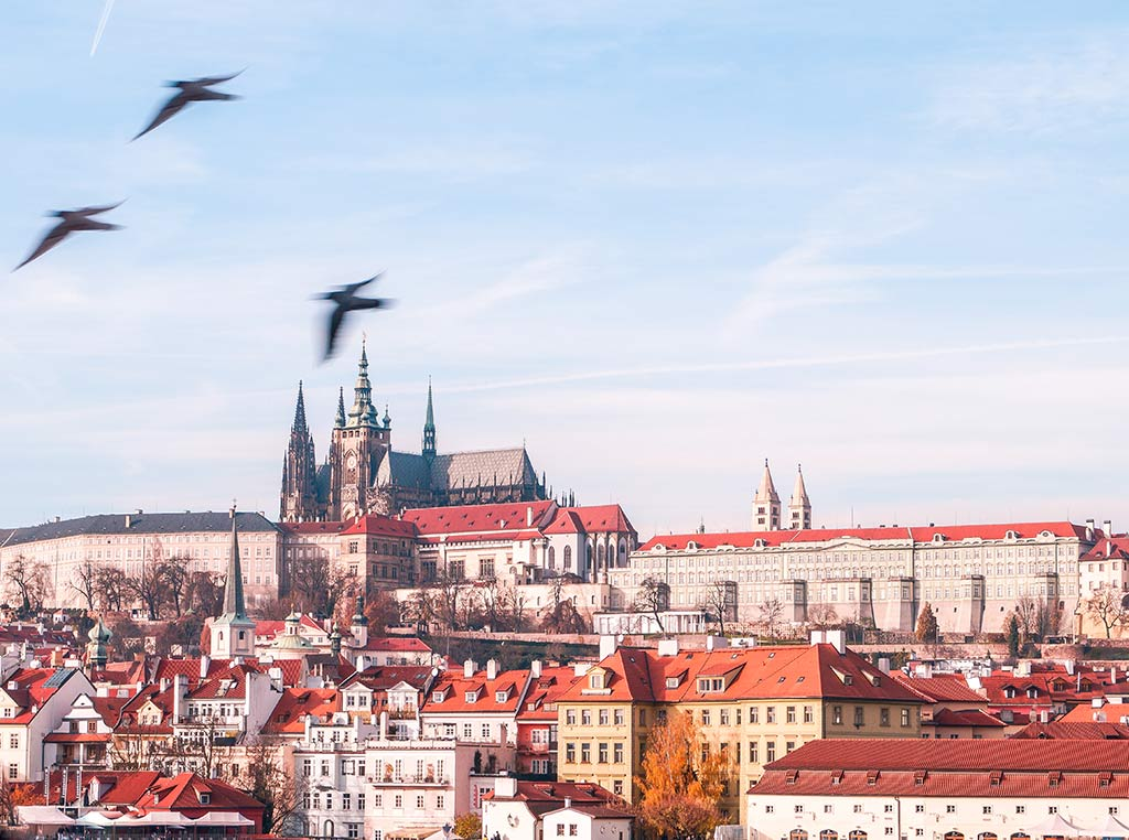Iconic photo spot of Prague castle from the Charles bridge with birds flying around