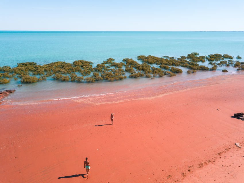 arial shot over red sand beaches, one of best things to see in Broome
