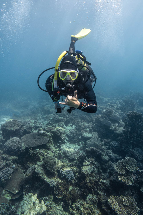 male diver diving in Ningaloo reef